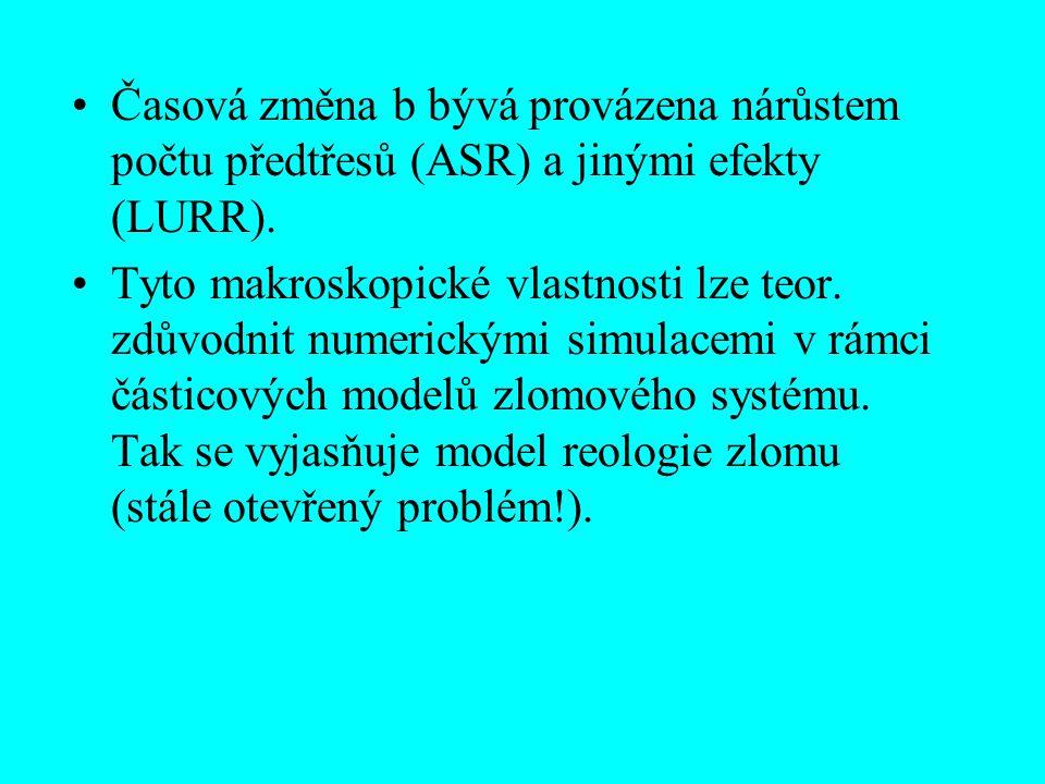 Časová změna b bývá provázena nárůstem počtu předtřesů (ASR) a jinými efekty (LURR). Tyto makroskopické vlastnosti lze teor. zdůvodnit numerickými sim