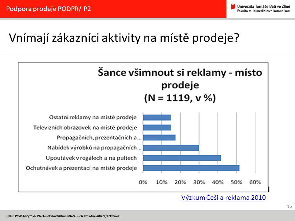 16 PhDr. Pavla Kotyzová, Ph.D.,kotyzova@fmk.utb.cz, web: kmk.fmk.utb.cz/kotyzova Vnímají zákazníci aktivity na místě prodeje? Podpora prodeje PODPR/ P