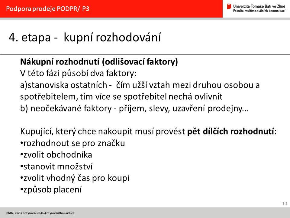 10 PhDr. Pavla Kotyzová, Ph.D.,kotyzova@fmk.utb.cz 4. etapa - kupní rozhodování Podpora prodeje PODPR/ P3 Nákupní rozhodnutí (odlišovací faktory) V té