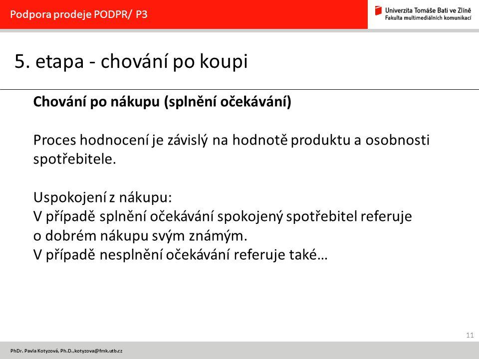 11 PhDr. Pavla Kotyzová, Ph.D.,kotyzova@fmk.utb.cz 5. etapa - chování po koupi Podpora prodeje PODPR/ P3 Chování po nákupu (splnění očekávání) Proces