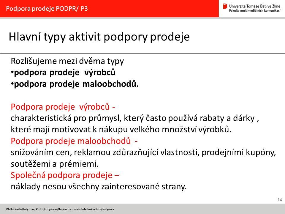 14 PhDr. Pavla Kotyzová, Ph.D.,kotyzova@fmk.utb.cz, web: lide.fmk.utb.cz/kotyzova Hlavní typy aktivit podpory prodeje Podpora prodeje PODPR/ P3 Rozliš