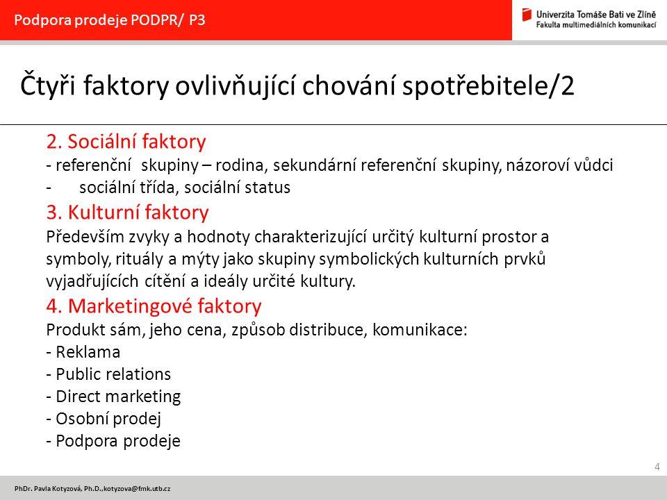 4 PhDr. Pavla Kotyzová, Ph.D.,kotyzova@fmk.utb.cz Čtyři faktory ovlivňující chování spotřebitele/2 Podpora prodeje PODPR/ P3 2. Sociální faktory - ref