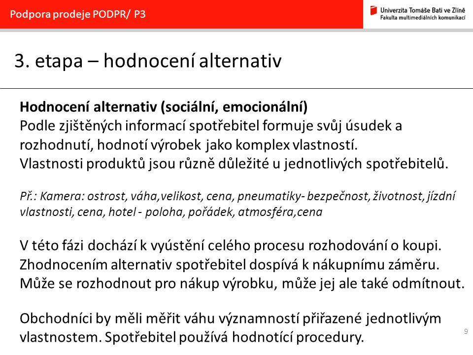 9 3. etapa – hodnocení alternativ Podpora prodeje PODPR/ P3 Hodnocení alternativ (sociální, emocionální) Podle zjištěných informací spotřebitel formuj