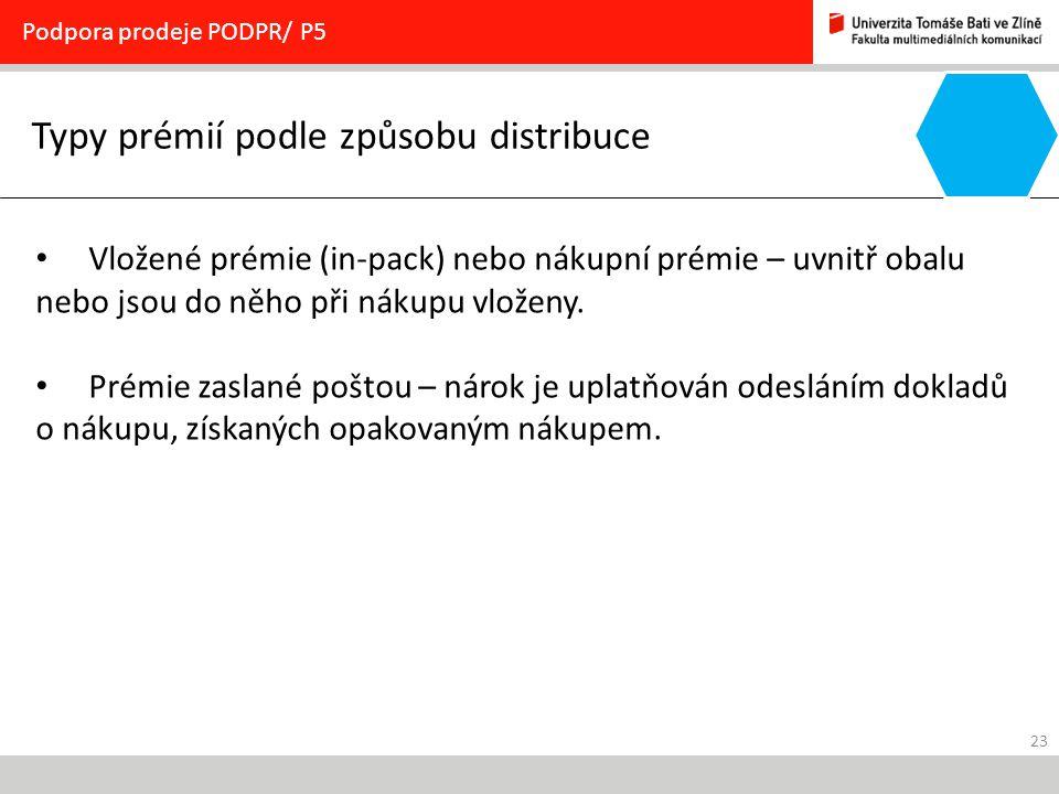 23 Typy prémií podle způsobu distribuce Podpora prodeje PODPR/ P5 Vložené prémie (in-pack) nebo nákupní prémie – uvnitř obalu nebo jsou do něho při ná