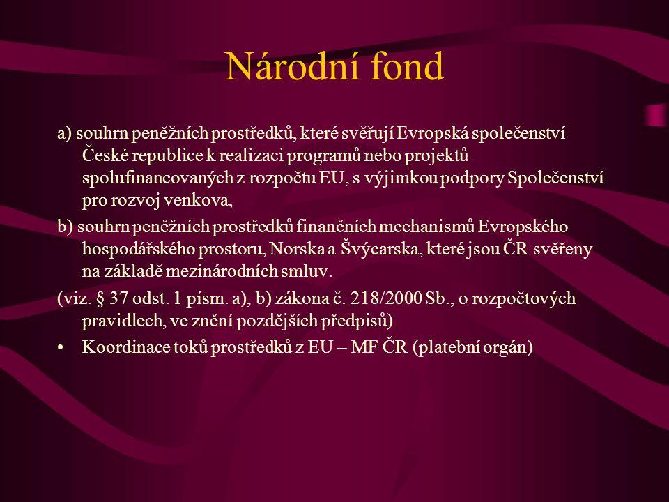Národní fond a) souhrn peněžních prostředků, které svěřují Evropská společenství České republice k realizaci programů nebo projektů spolufinancovaných z rozpočtu EU, s výjimkou podpory Společenství pro rozvoj venkova, b) souhrn peněžních prostředků finančních mechanismů Evropského hospodářského prostoru, Norska a Švýcarska, které jsou ČR svěřeny na základě mezinárodních smluv.