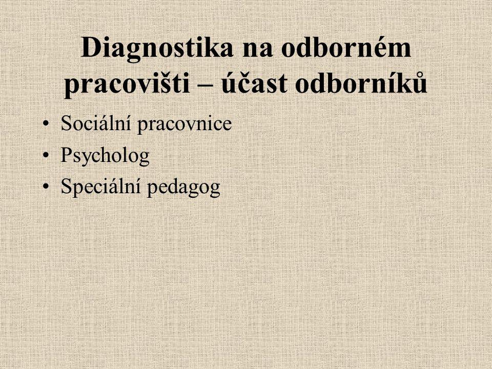 Diagnostika na odborném pracovišti – účast odborníků Sociální pracovnice Psycholog Speciální pedagog