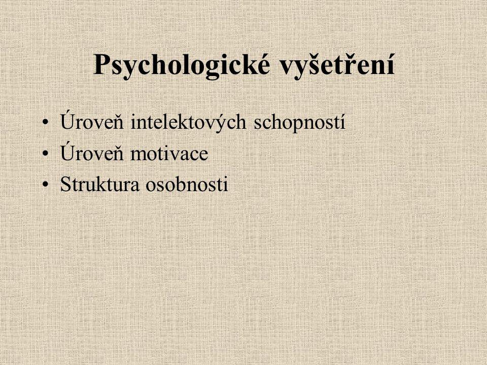 Psychologické vyšetření Úroveň intelektových schopností Úroveň motivace Struktura osobnosti