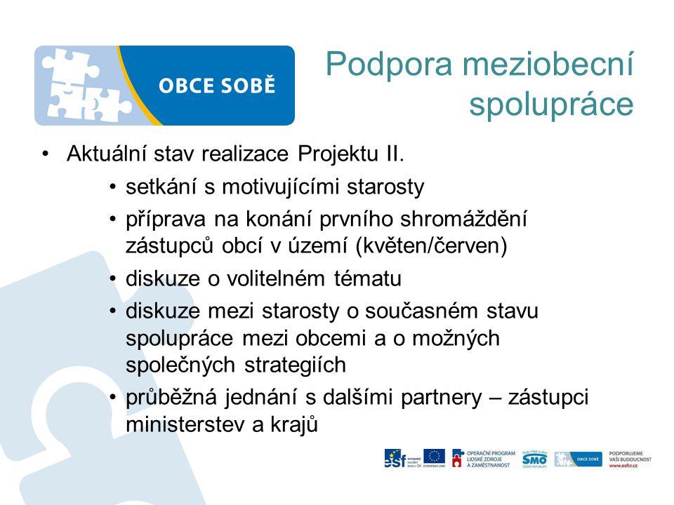 Podpora meziobecní spolupráce Aktuální stav realizace Projektu II. setkání s motivujícími starosty příprava na konání prvního shromáždění zástupců obc