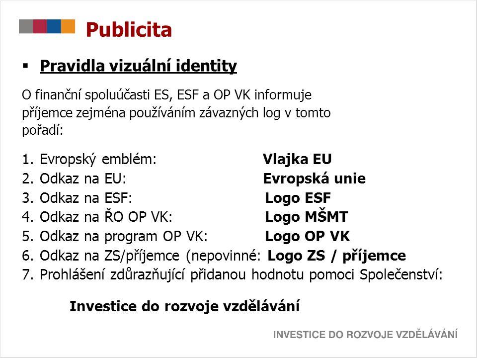 Publicita  Pravidla vizuální identity O finanční spoluúčasti ES, ESF a OP VK informuje příjemce zejména používáním závazných log v tomto pořadí: 1.Ev