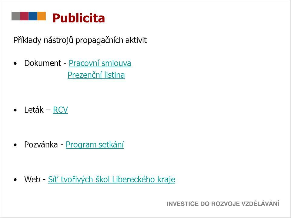 Publicita Příklady nástrojů propagačních aktivit Dokument - Pracovní smlouvaPracovní smlouva Prezenční listina Leták – RCVRCV Pozvánka - Program setká