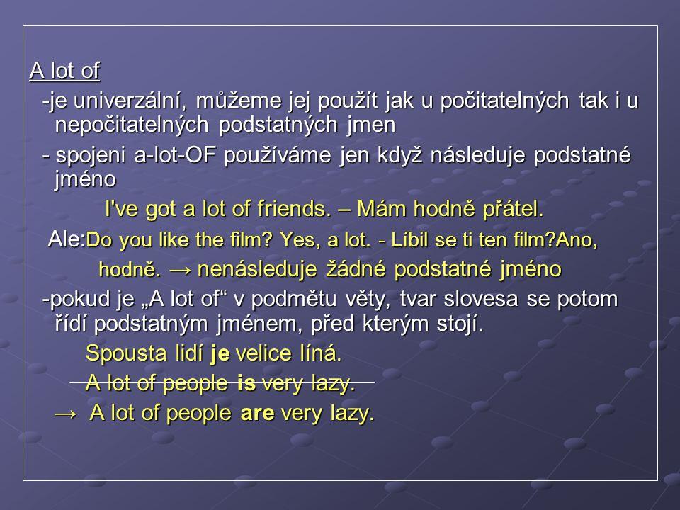 """Much vs.Many -ve významu """"hodně → POZOR. Není to synonymum od """"a lot of → POZOR."""