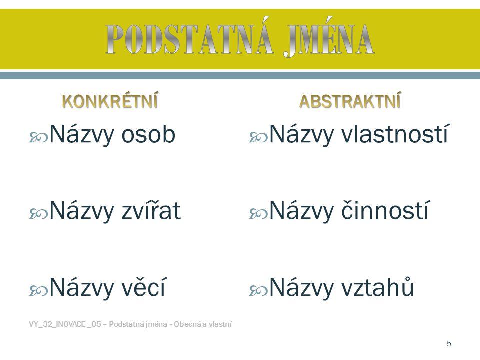  Názvy osob  Názvy zvířat  Názvy věcí VY_32_INOVACE _05 – Podstatná jména - Obecná a vlastní  Názvy vlastností  Názvy činností  Názvy vztahů 5