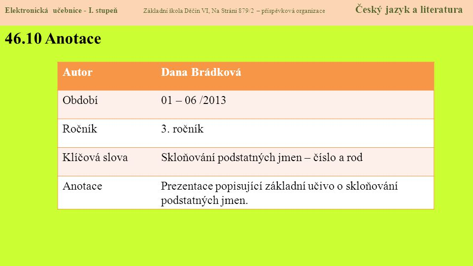46.10 Anotace Elektronická učebnice - I.