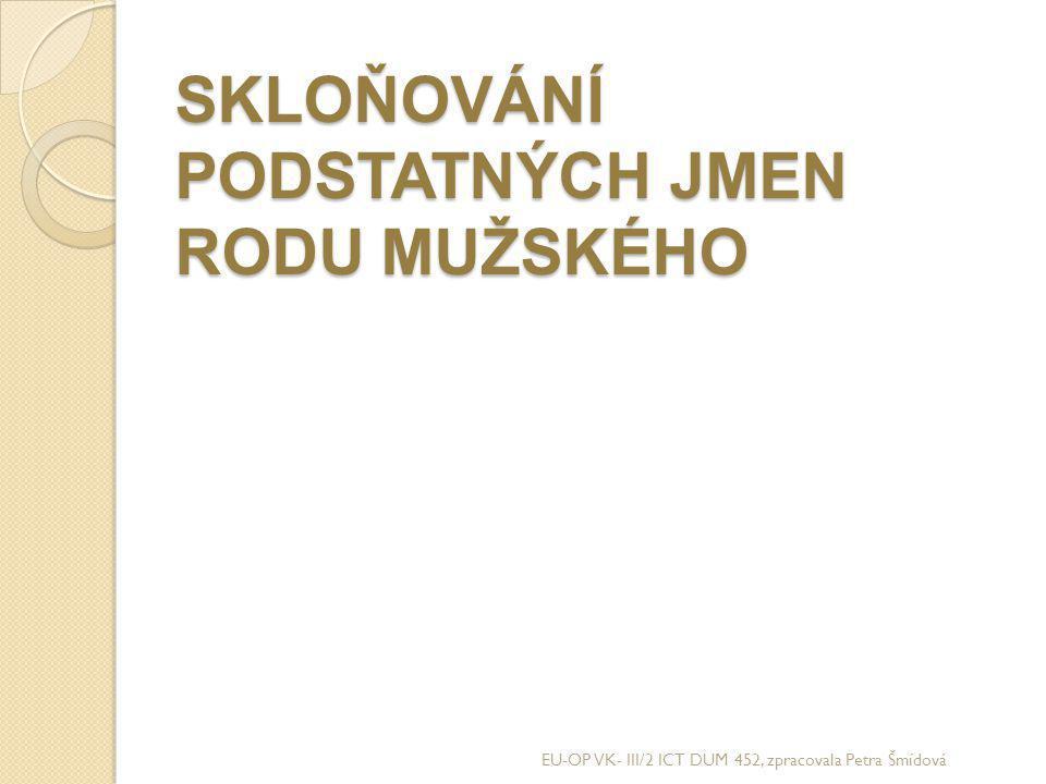 SKLOŇOVÁNÍ PODSTATNÝCH JMEN RODU MUŽSKÉHO EU-OP VK- III/2 ICT DUM 452, zpracovala Petra Šmídová