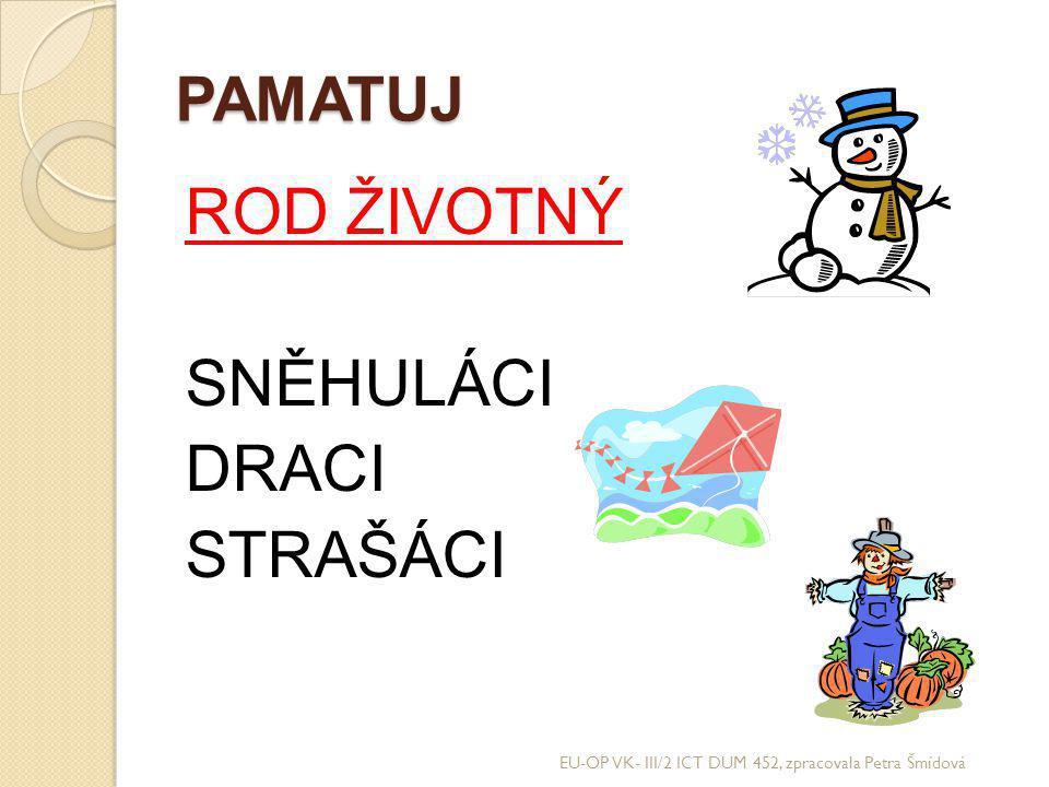 PAMATUJ ROD ŽIVOTNÝ SNĚHULÁCI DRACI STRAŠÁCI EU-OP VK- III/2 ICT DUM 452, zpracovala Petra Šmídová