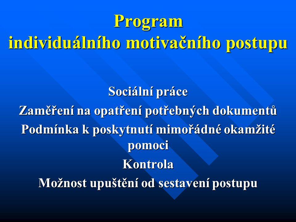 Program individuálního motivačního postupu Sociální práce Zaměření na opatření potřebných dokumentů Podmínka k poskytnutí mimořádné okamžité pomoci Kontrola Možnost upuštění od sestavení postupu