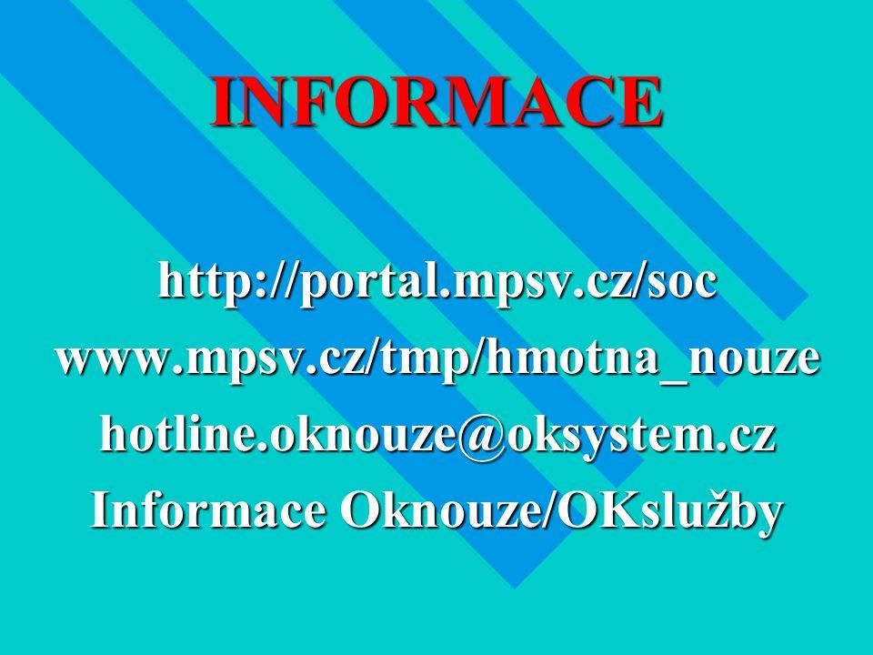 INFORMACE http://portal.mpsv.cz/socwww.mpsv.cz/tmp/hmotna_nouzehotline.oknouze@oksystem.cz Informace Oknouze/OKslužby