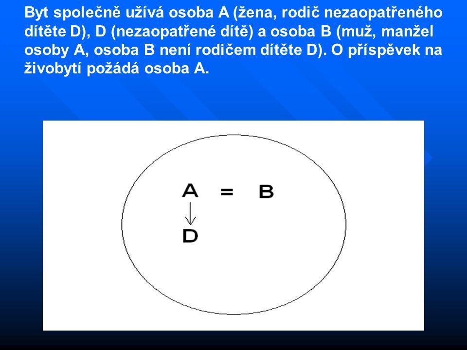 Byt společně užívá osoba A (žena, rodič nezaopatřeného dítěte D), D (nezaopatřené dítě) a osoba B (muž, manžel osoby A, osoba B není rodičem dítěte D)