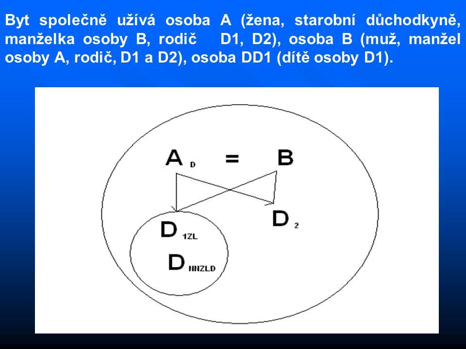 Byt společně užívá osoba A (žena, starobní důchodkyně, manželka osoby B, rodič D1, D2), osoba B (muž, manžel osoby A, rodič, D1 a D2), osoba DD1 (dítě