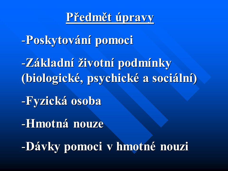 Předmět úpravy Předmět úpravy -Poskytování pomoci -Základní životní podmínky (biologické, psychické a sociální) -Fyzická osoba -Hmotná nouze -Dávky pomoci v hmotné nouzi