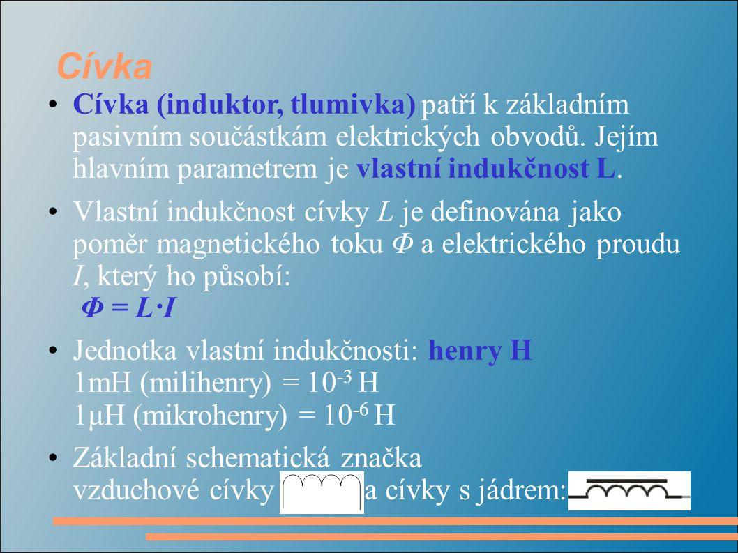 Cívka Cívka (induktor, tlumivka) patří k základním pasivním součástkám elektrických obvodů. Jejím hlavním parametrem je vlastní indukčnost L. Vlastní