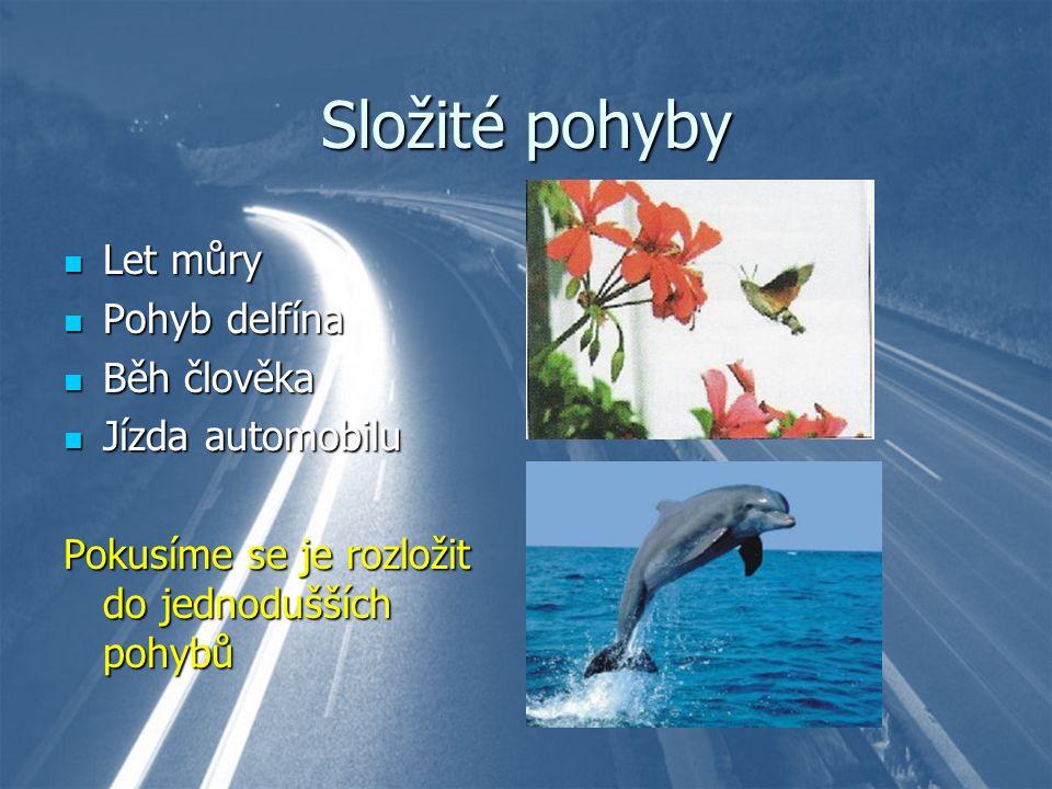 Složité pohyby Let můry Let můry Pohyb delfína Pohyb delfína Běh člověka Běh člověka Jízda automobilu Jízda automobilu Pokusíme se je rozložit do jedn