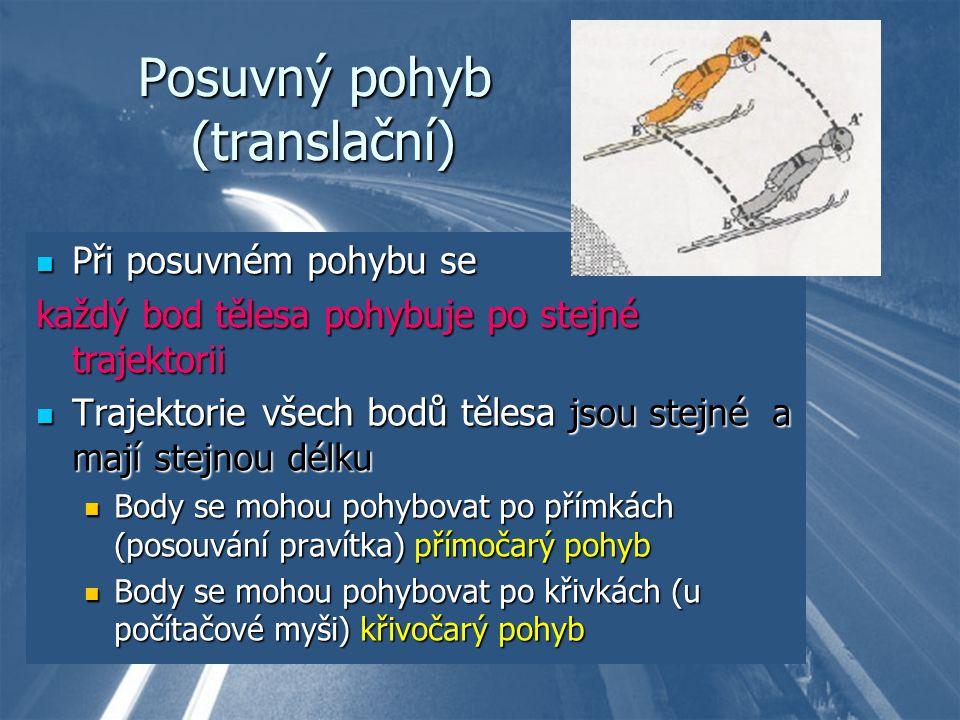 Posuvný pohyb (translační) Při posuvném pohybu se Při posuvném pohybu se každý bod tělesa pohybuje po stejné trajektorii Trajektorie všech bodů tělesa