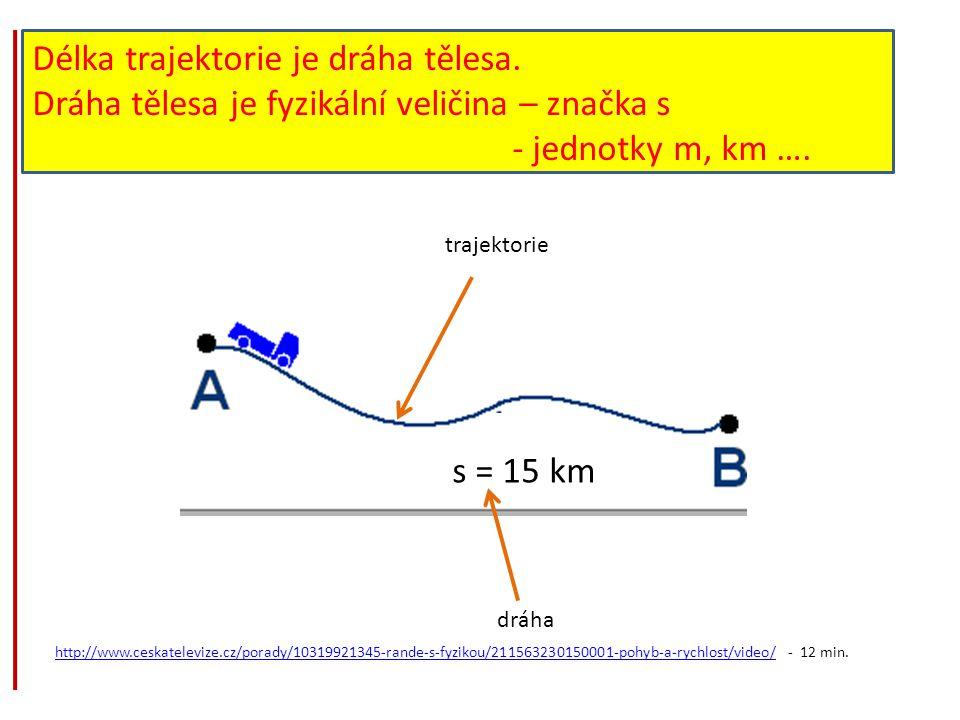 Délka trajektorie je dráha tělesa. Dráha tělesa je fyzikální veličina – značka s - jednotky m, km …. s = 15 km trajektorie dráha http://www.ceskatelev