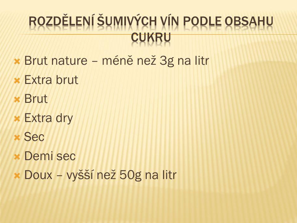  Brut nature – méně než 3g na litr  Extra brut  Brut  Extra dry  Sec  Demi sec  Doux – vyšší než 50g na litr