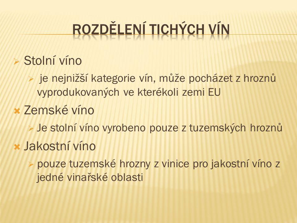  Stolní víno  je nejnižší kategorie vín, může pocházet z hroznů vyprodukovaných ve kterékoli zemi EU  Zemské víno  Je stolní víno vyrobeno pouze z tuzemských hroznů  Jakostní víno  pouze tuzemské hrozny z vinice pro jakostní víno z jedné vinařské oblasti