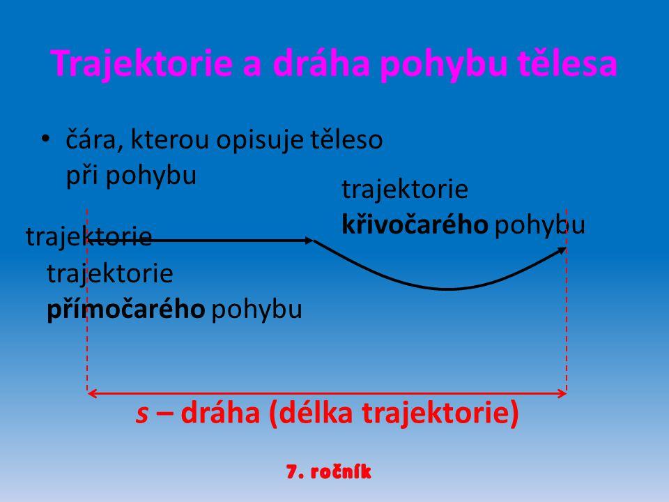 Trajektorie a dráha pohybu tělesa čára, kterou opisuje těleso při pohybu trajektorie přímočarého pohybu trajektorie křivočarého pohybu s – dráha (délka trajektorie)