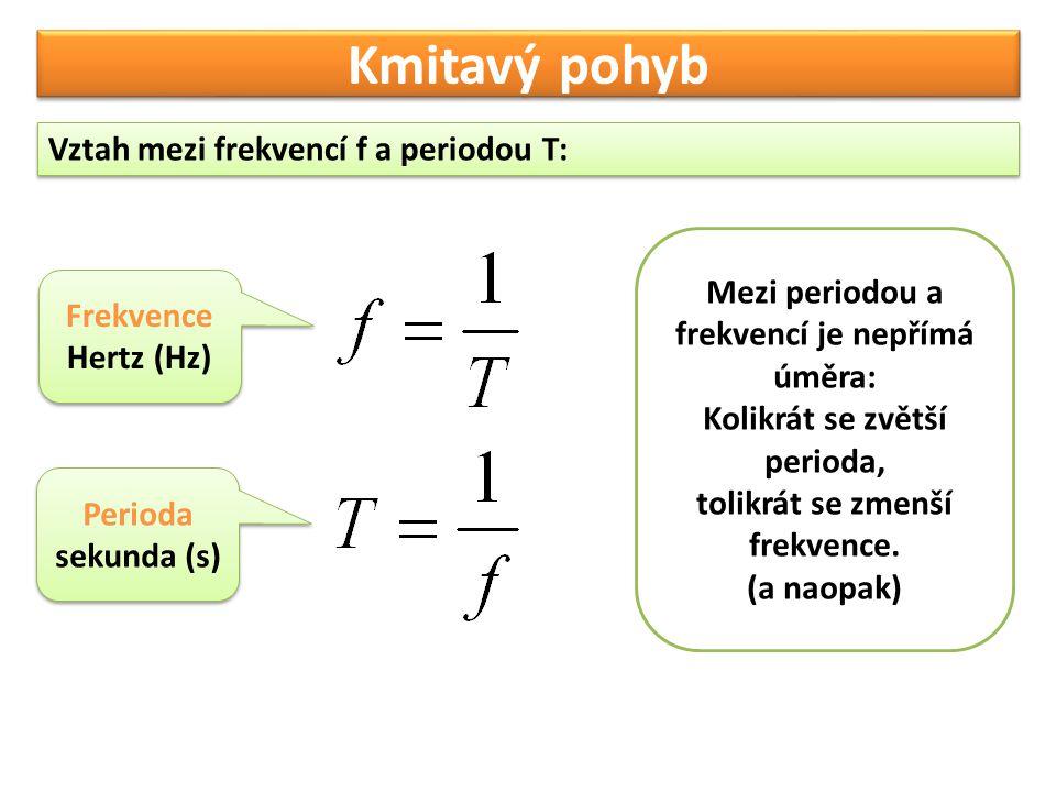 Kmitavý pohyb Vztah mezi frekvencí f a periodou T: Mezi periodou a frekvencí je nepřímá úměra: Kolikrát se zvětší perioda, tolikrát se zmenší frekvenc