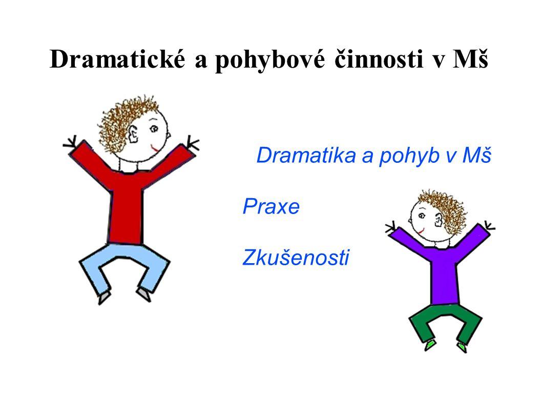 Dramatika a pohyb v Mš Praxe Zkušenosti Dramatické a pohybové činnosti v Mš