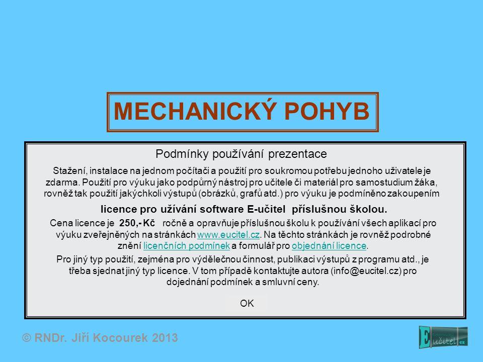 MECHANICKÝ POHYB © RNDr. Jiří Kocourek 2013 Podmínky používání prezentace Stažení, instalace na jednom počítači a použití pro soukromou potřebu jednoh