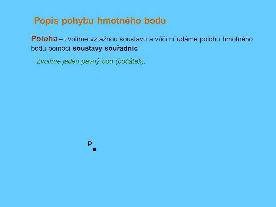 Poloha – zvolíme vztažnou soustavu a vůči ní udáme polohu hmotného bodu pomocí soustavy souřadnic Popis pohybu hmotného bodu Zvolíme jeden pevný bod (