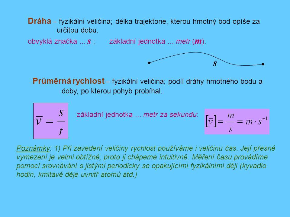 Dráha – fyzikální veličina; délka trajektorie, kterou hmotný bod opíše za určitou dobu. obvyklá značka... s ; základní jednotka... metr ( m ). Průměrn