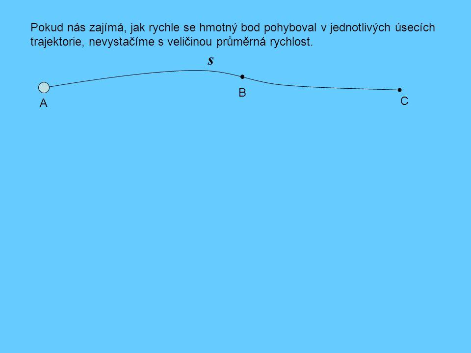 s Pokud nás zajímá, jak rychle se hmotný bod pohyboval v jednotlivých úsecích trajektorie, nevystačíme s veličinou průměrná rychlost. A B C