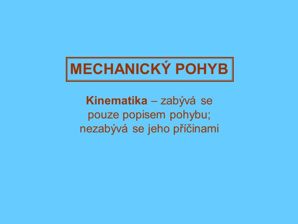MECHANICKÝ POHYB Kinematika – zabývá se pouze popisem pohybu; nezabývá se jeho příčinami