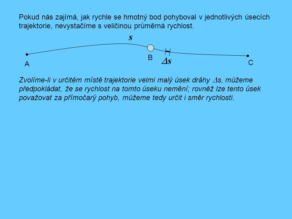 Pokud nás zajímá, jak rychle se hmotný bod pohyboval v jednotlivých úsecích trajektorie, nevystačíme s veličinou průměrná rychlost. s A B C ss Zvolí