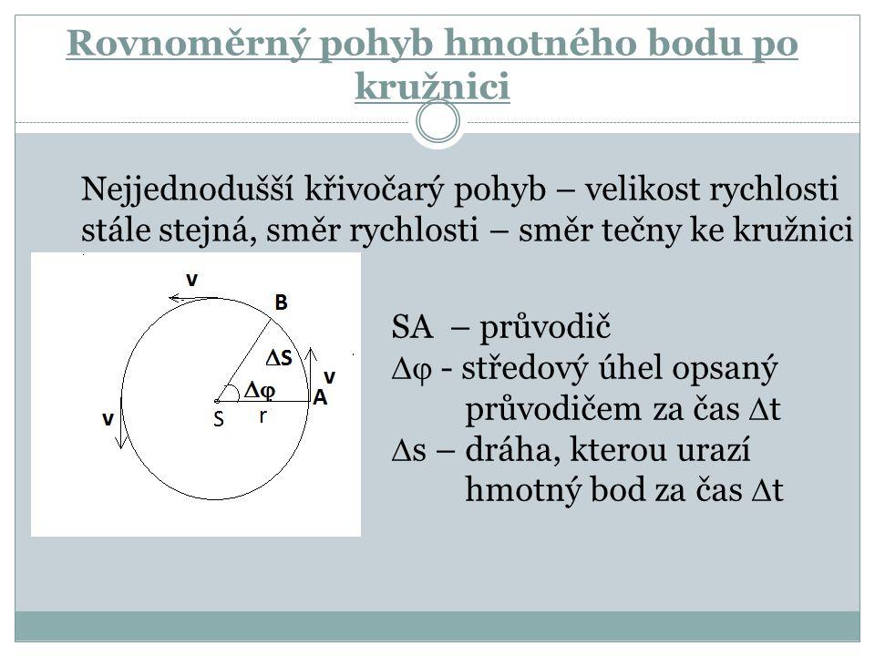Rovnoměrný pohyb hmotného bodu po kružnici SA – průvodič  - středový úhel opsaný průvodičem za čas  t  s – dráha, kterou urazí hmotný bod za čas 