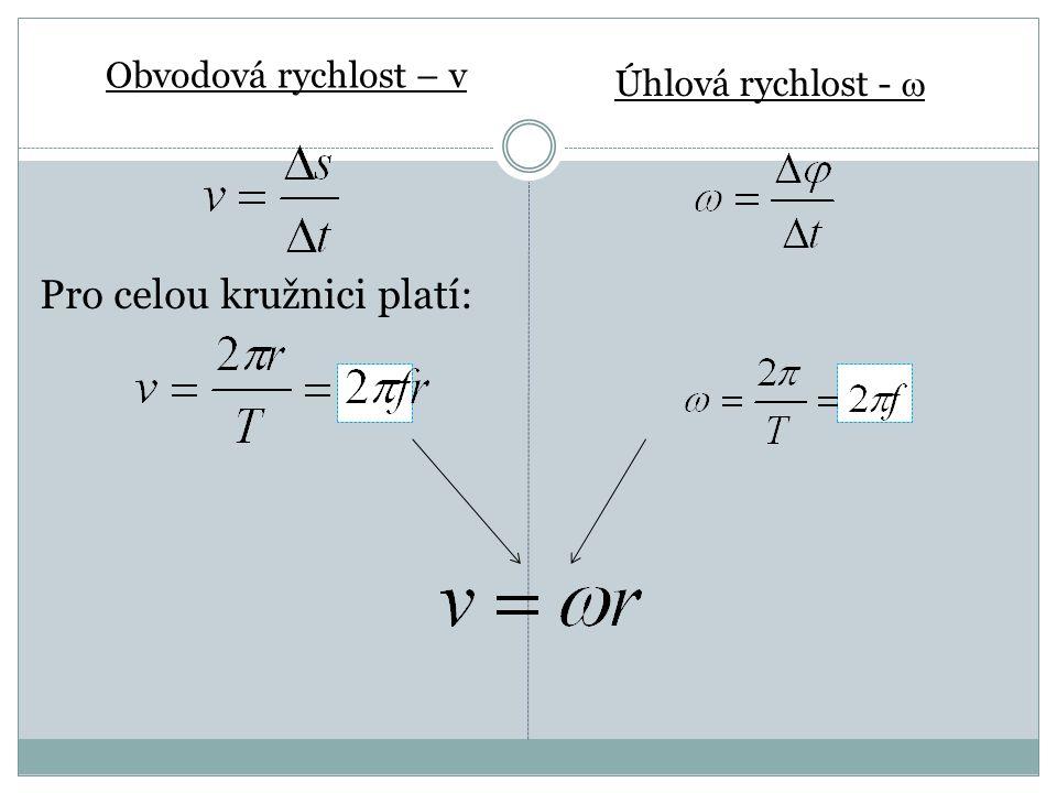 Obvodová rychlost – v Úhlová rychlost -  Pro celou kružnici platí: