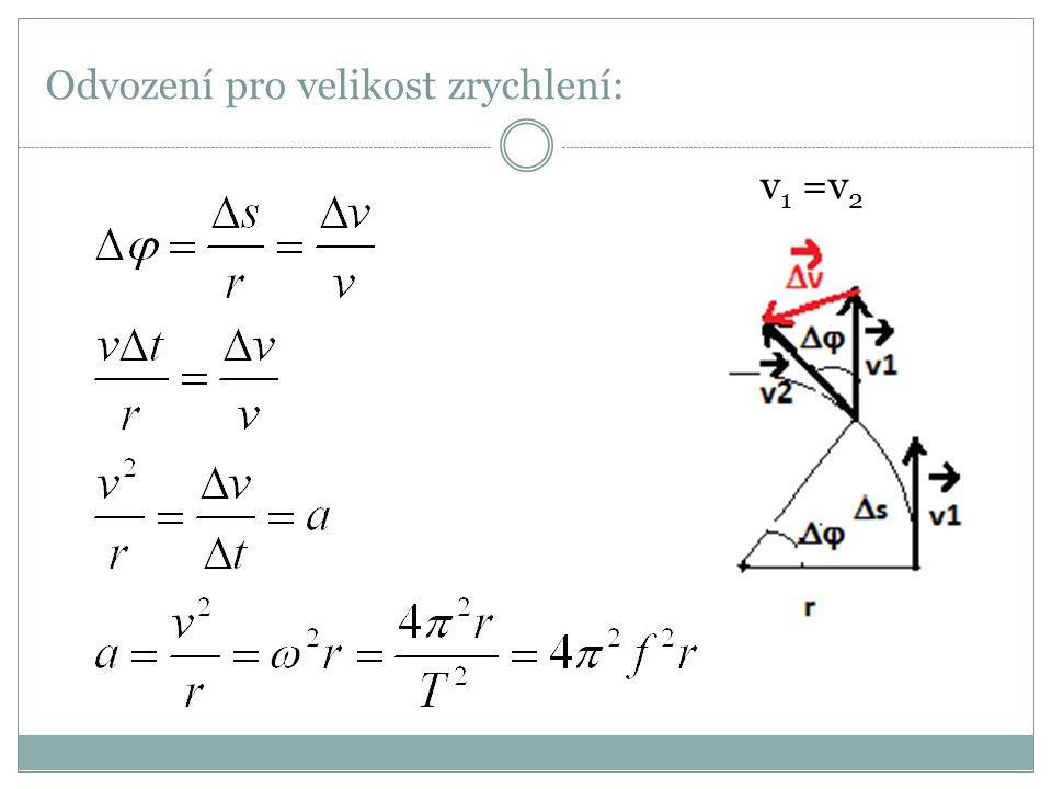 Odvození pro velikost zrychlení: v 1 =v 2