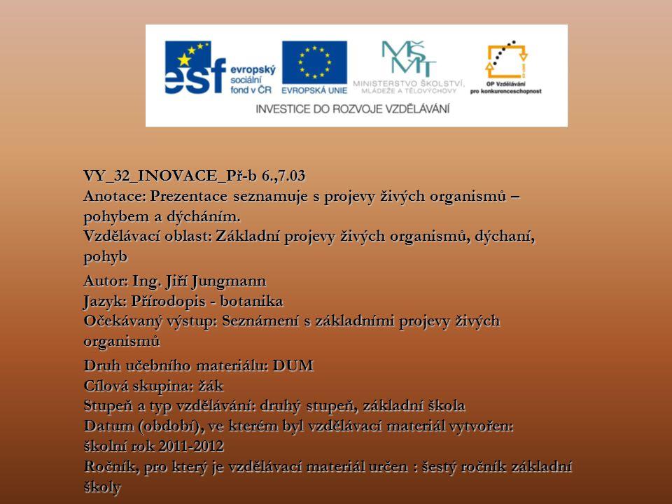 VY_32_INOVACE_Př-b 6.,7.03 Anotace: Prezentace seznamuje s projevy živých organismů – pohybem a dýcháním. Vzdělávací oblast: Základní projevy živých o