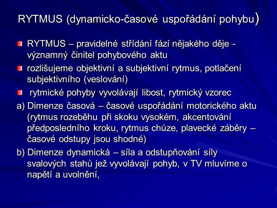 RYTMUS (dynamicko-časové uspořádání pohybu ) RYTMUS – pravidelné střídání fází nějakého děje - významný činitel pohybového aktu rozlišujeme objektivní