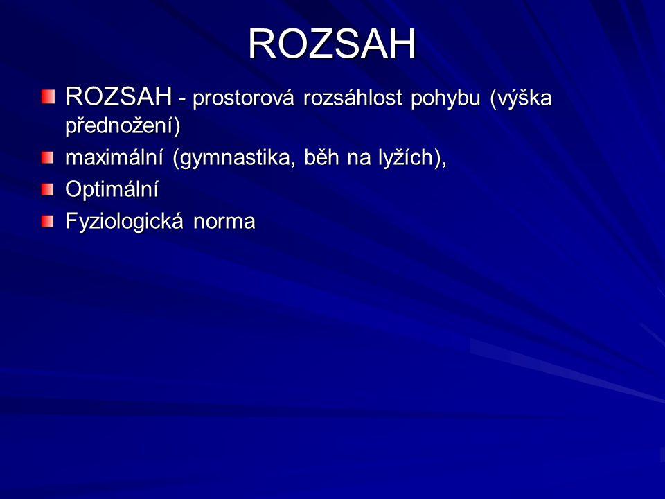 ROZSAH ROZSAH - prostorová rozsáhlost pohybu (výška přednožení) maximální (gymnastika, běh na lyžích), Optimální Fyziologická norma