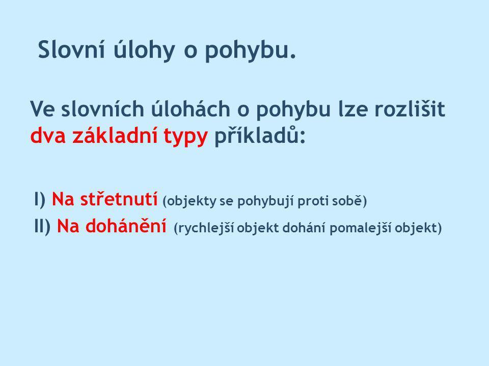 Slovní úlohy o pohybu. Ve slovních úlohách o pohybu lze rozlišit dva základní typy příkladů: I) Na střetnutí (objekty se pohybují proti sobě) II) Na d