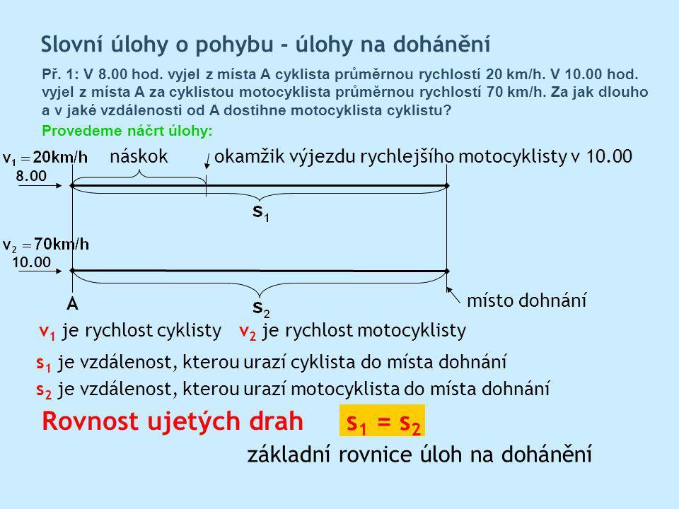 Rovnost ujetých drah s 1 = s 2 s 1 je vzdálenost, kterou urazí cyklista do místa dohnání s 2 je vzdálenost, kterou urazí motocyklista do místa dohnání