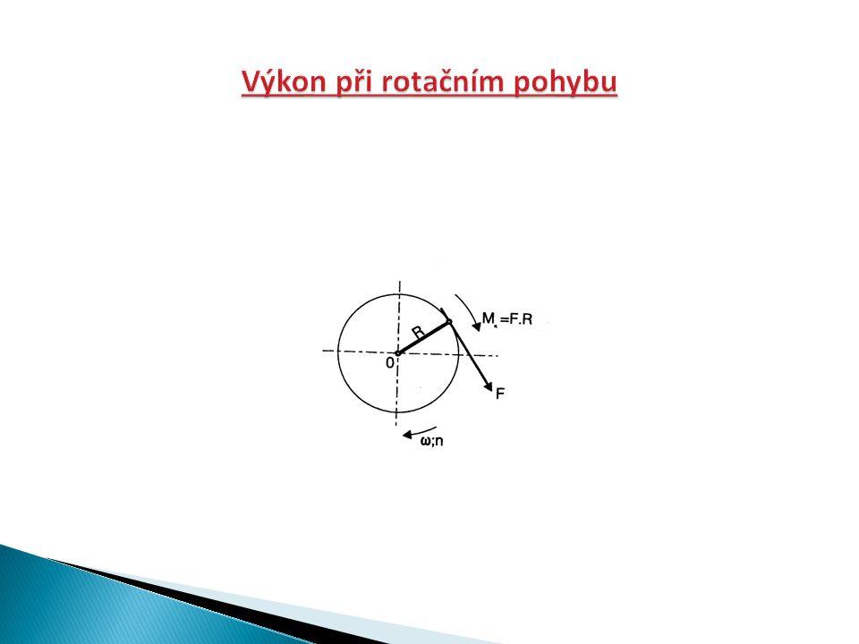 Jednou otáčkou hřídele kolem bodu O se vykoná práce W= F*s= F*2π*R= 2π*M k [J] Jsou-li provozní otáčky hřídele n [s -1 ], bude potřebný výkon roven vykonané práci za 1 sekundu.