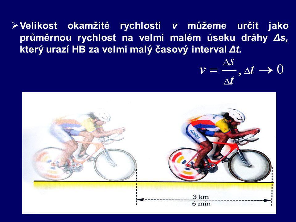 OKAMŽITÁ RYCHLOST v čase t, kdy HB je v bodě A: je vektor VELIKOST SMĚR je totožný se směrem tečny k trajektorii a je orientován ve směru OKAMŽITÁ RYCHLOST