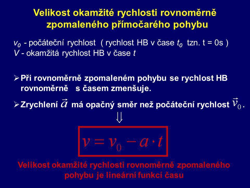 Velikost rychlosti je lineární funkcí času Velikost rychlosti je přímo úměrná času Velikost okamžité rychlosti rovnoměrně zrychleného přímočarého pohybu v 0 - počáteční rychlost ( rychlost HB v čase t 0 tzn.
